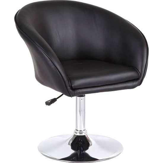 Henry Bistro Chair In Black Faux Leather With Chrome Base