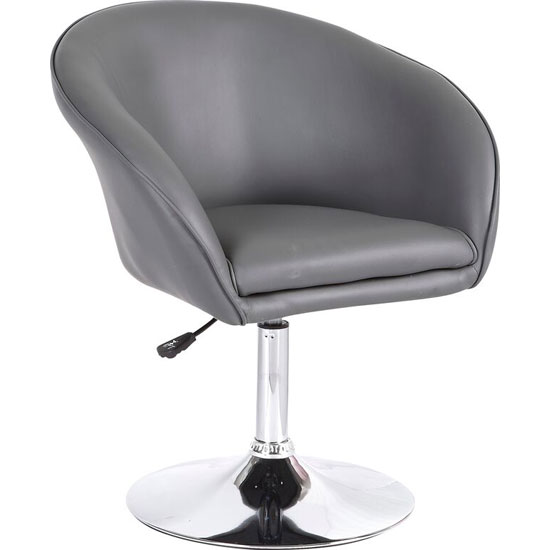Henry Bistro Chair In Grey Faux Leather With Chrome Base