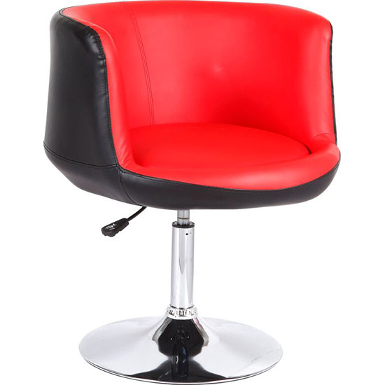 Lily Bistro Chair In Black Red Faux Leather With Chrome Base