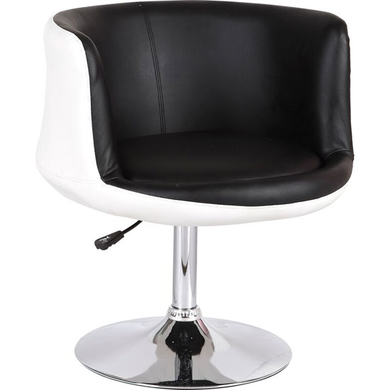 Lily Bistro Chair In White Black Faux Leather With Chrome Base