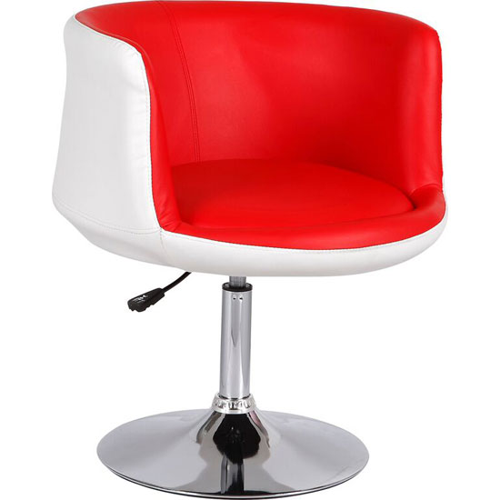 Lily Bistro Chair In White and Red Faux Leather With Chrome Base