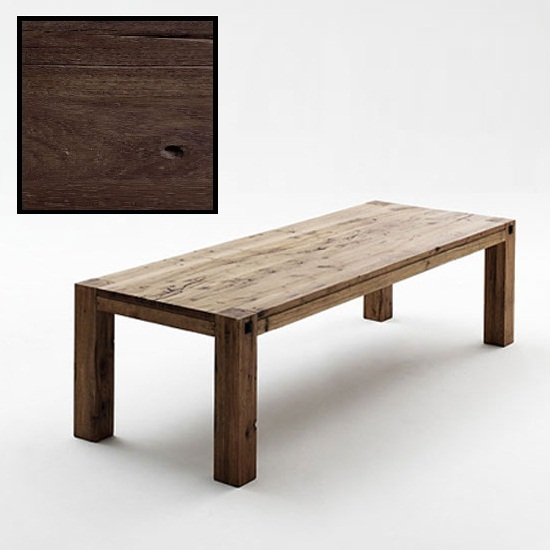 Leeds Wooden Dining Table In Solid Dark Oak In 220cm