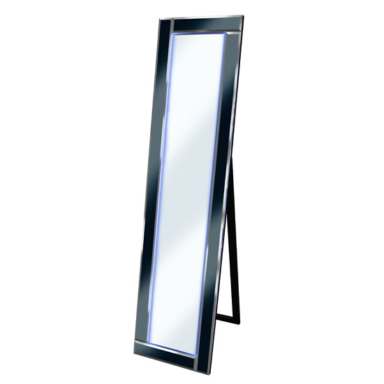 Bevelled Black Cheval Freestanding Mirror With Blue LED Light