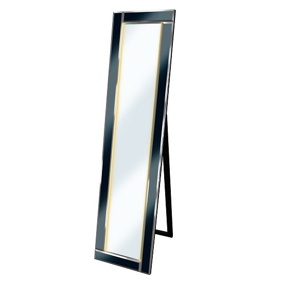Bevelled Cheval Free Standing Mirror In Black With Led