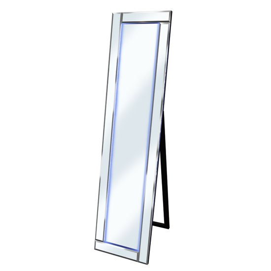 Bevelled Silver Cheval Freestanding Mirror With White Led Light