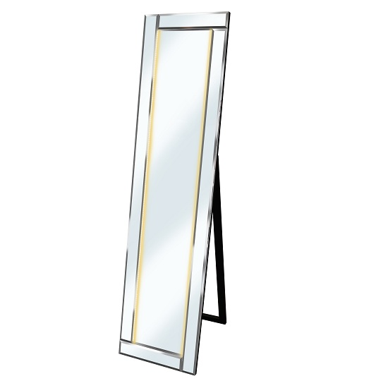 Bevelled Cheval Free Standing Mirror In Silver With Amber LED