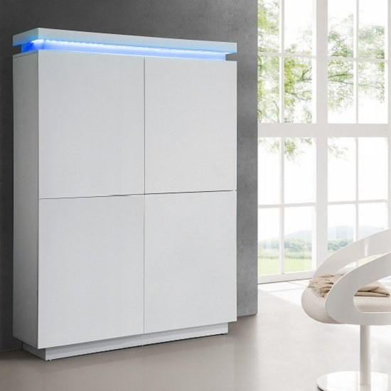 Read more about Lenovo storage cupboard in white gloss with led lights