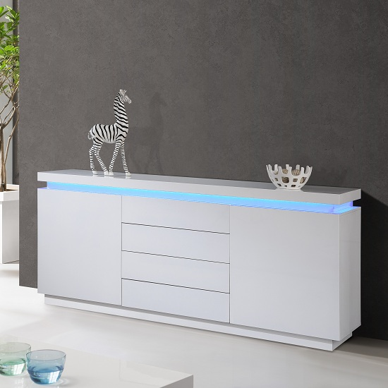 Lenovo 2 Door Sideboard In White High Gloss With Led