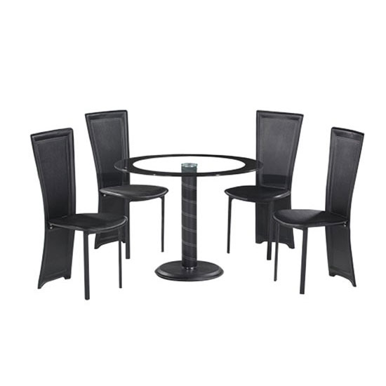 Elnora Black Round Clear Glass Dining Table And 4 Dining Chairs