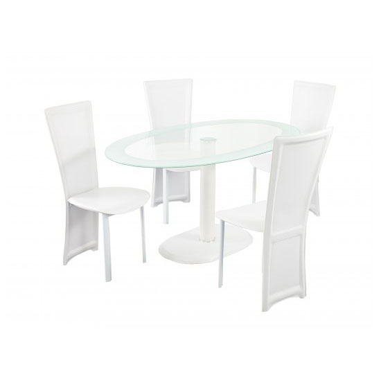 Elnora White Oval Clear Glass Dining Table And 4 Dining Chairs