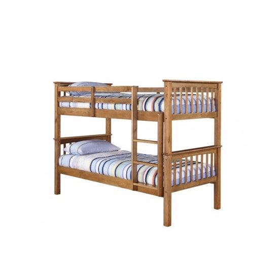 Leno Antique Wax Pine Finish 2 Tier Bunk Bed
