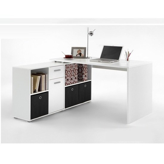Flexi wooden corner computer desk in white 18083 furniture for Schreibtisch platzsparend
