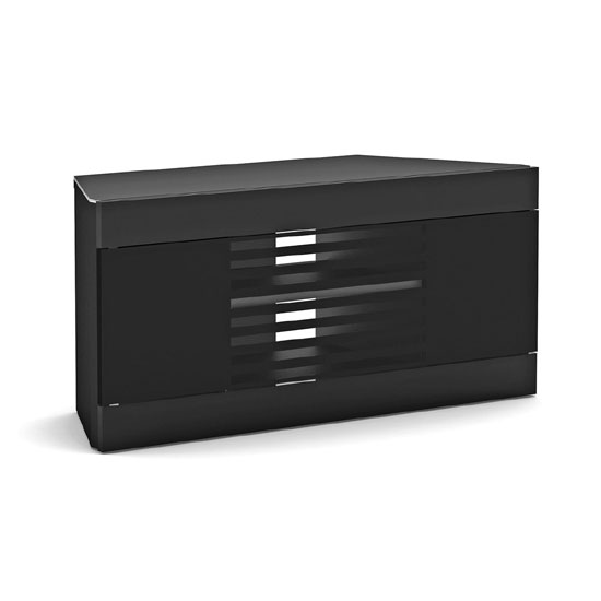 Elmon Linos Black Finish Corner LCD TV Stand