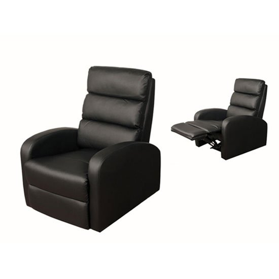 View Livonia reclining chair in black faux leather