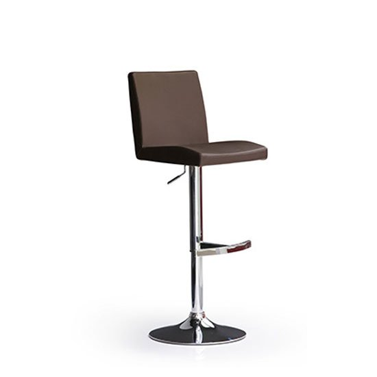 Lopes Brown Bar Stool In Faux Leather With Round Chrome Base