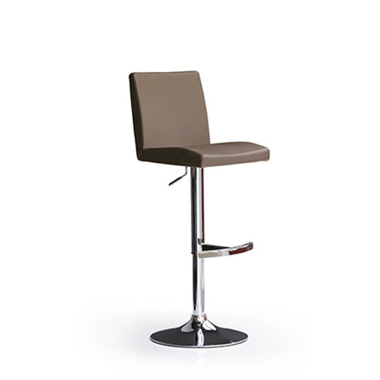 Lopes Cappuccino Faux Leather Bar Stool With Round Chrome Base