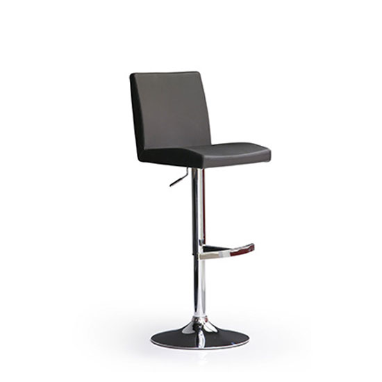 Lopes Black Bar Stool In Faux Leather With Round Chrome Base