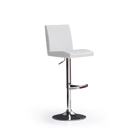 Lopes White Bar Stool In Faux Leather With Round Chrome Base