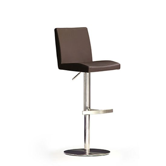 Lopes Brown Bar Stool In Faux Leather With Stainless Steel Base