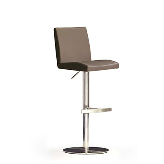 Lopes Cappuccino Pu Leather Bar Stool With Stainless Steel Base