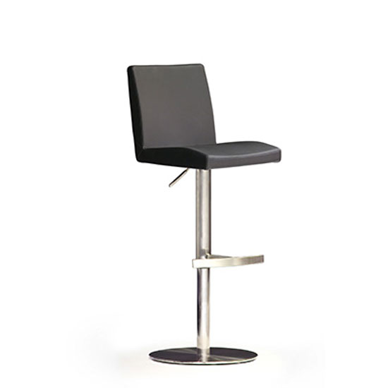 Lopes Black Bar Stool In Faux Leather With Stainless Steel Base