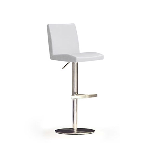 Lopes White Bar Stool In Faux Leather With Stainless Steel Base