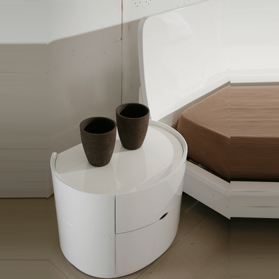 White High Gloss Side End Square 2 Seats Of Coffee Table: Laura King Size Bed In White High Gloss 9082 Furniture IN Fa