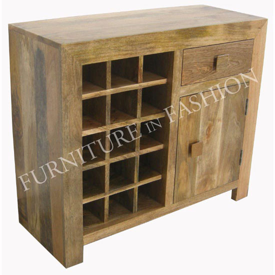 Read more about Dakota wine rack in light wood with 1 door and 1 drawer