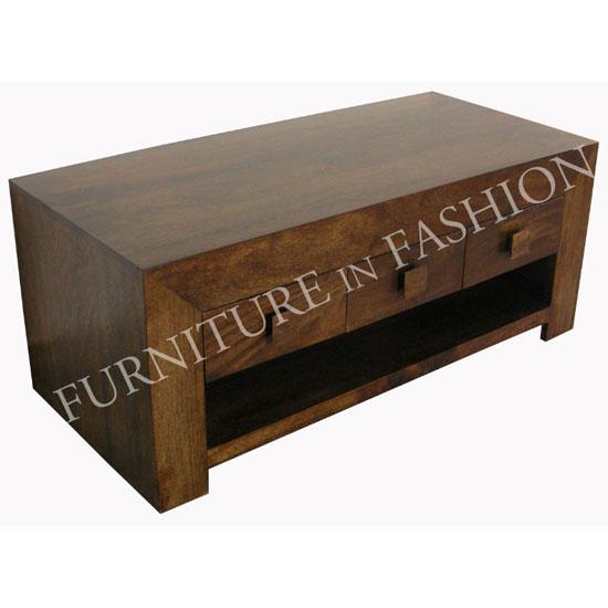 Dakota Coffee Table In Dark Finish Solid Wood With 3 Drawers