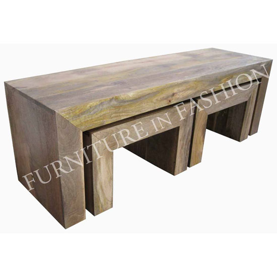 Dakota Coffee Table With 2 Stools In Light Finish Ls37l 79