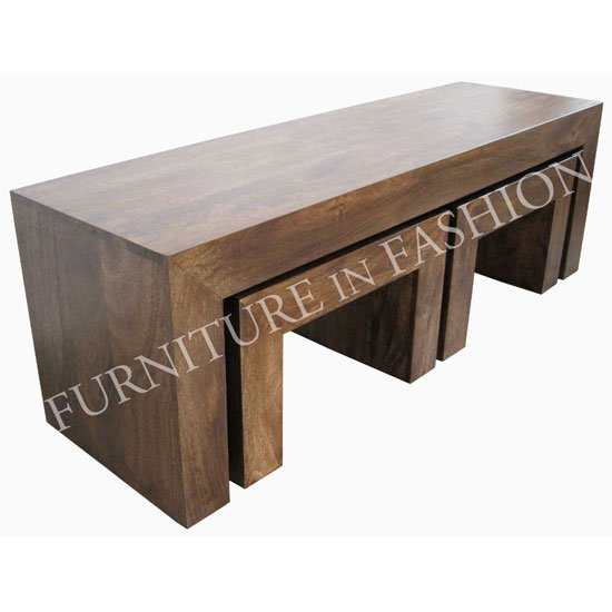 Dakota Coffee Table With 2 Stools In Dark Finish Ls37n 792