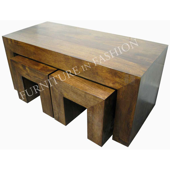 Dakota Coffee Table With 2 Stools In Dark Finish Ls46n 793