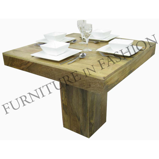 Dakota Small Square Wooden Dining Table In Light Finish