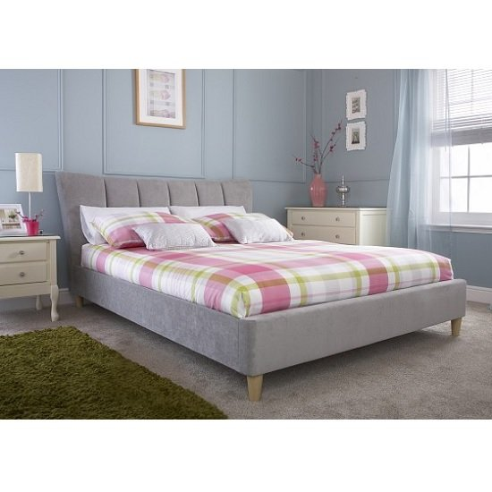 Angela Contemporary Bed In Chenille Fabric