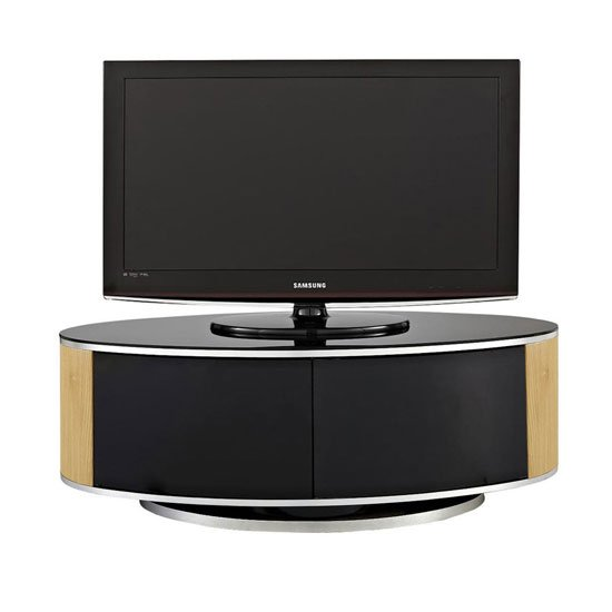 Powell TV Stand In Black Glass Top With Oak And Black Gloss