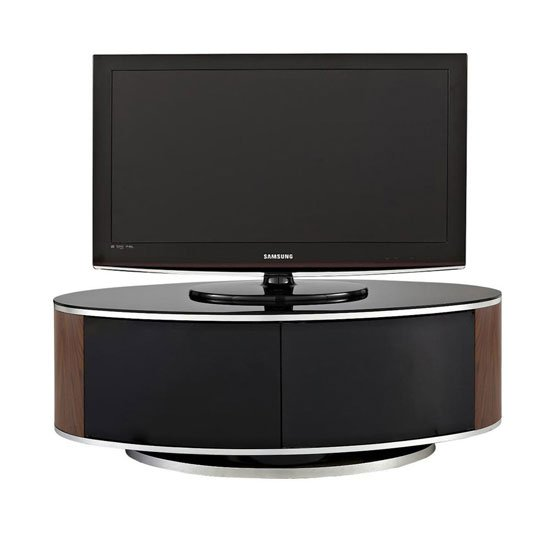 Powell TV Stand In Black Glass Top With Walnut And Black Gloss