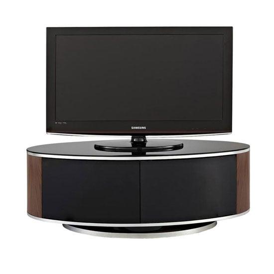LUNA AV Walnut MDA - Real Wood TV Stands With Glass Doors