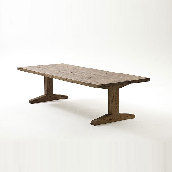 lunch pedestal dining table in solid oak and 6 black