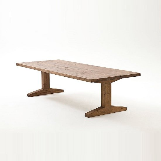 Lunch Pedestal Dining Table Rectangular In Solid White Oak