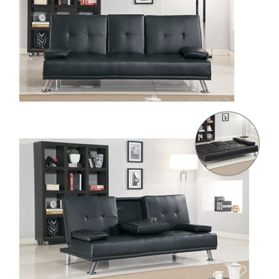 Comfy Black Faux Leather Sofa Bed
