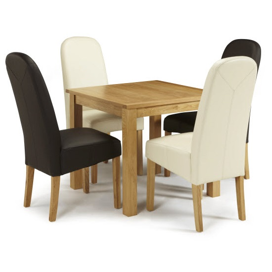 Darcey Dining Table In Oak And 4 Jennifer Chair In Faux Leather