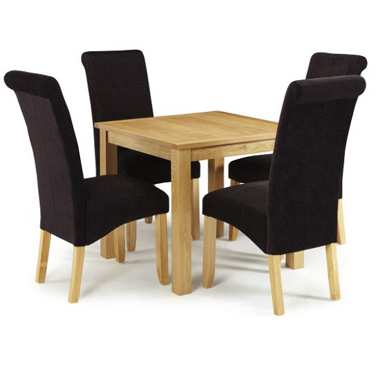 Darcey Dining Table In Oak And 4 Ameera Chairs In Aubergine