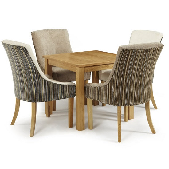 Darcey Dining Table In Oak And 4 Hannah Chair In Mink Sand