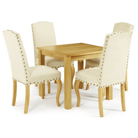 Darcey Dining Table In Oak And 4 Madeline Chairs In Pearl Fabric