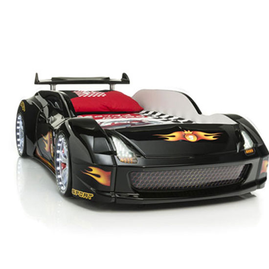 M7 Childrens Sports Car Bed In Black With Spoiler And LED Light