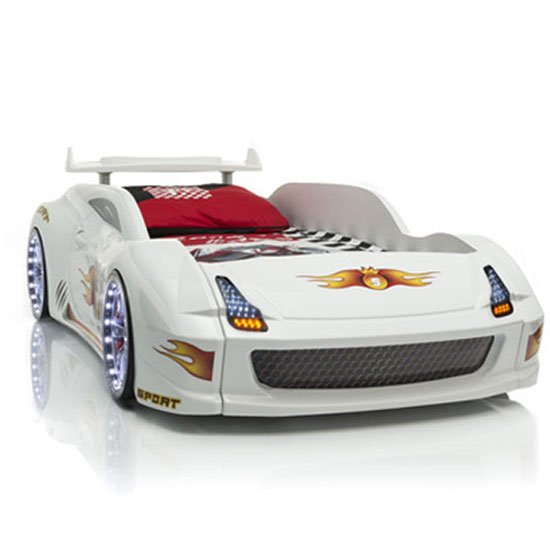 M7 Childrens Sports Car Bed In White With Spoiler And LED Light