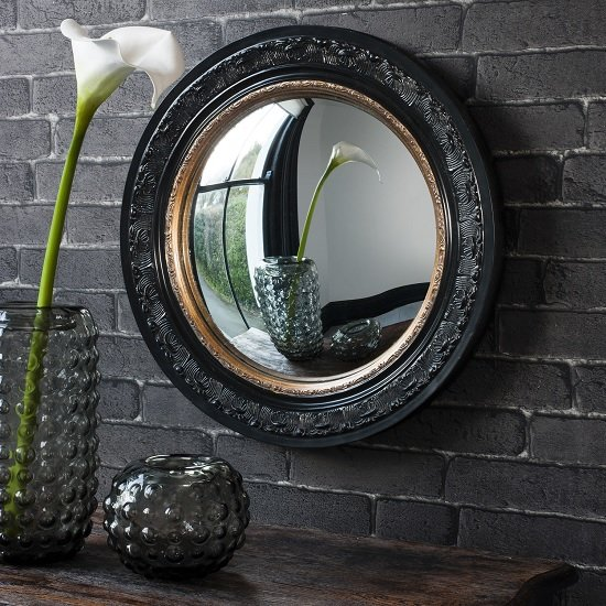 Kayla Wall Mirror Round In Black Frame With Inner Gold Band_1