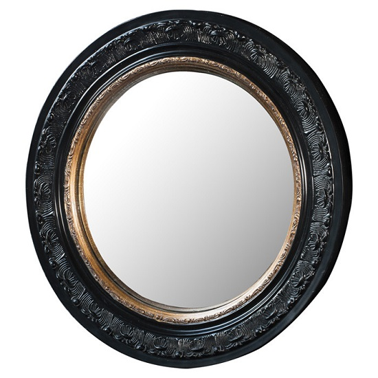 Kayla Wall Mirror Round In Black Frame With Inner Gold Band_2
