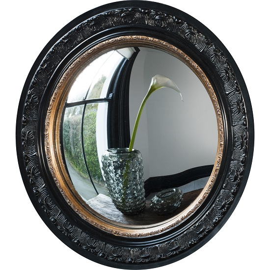 Kayla Wall Mirror Round In Black Frame With Inner Gold Band_3