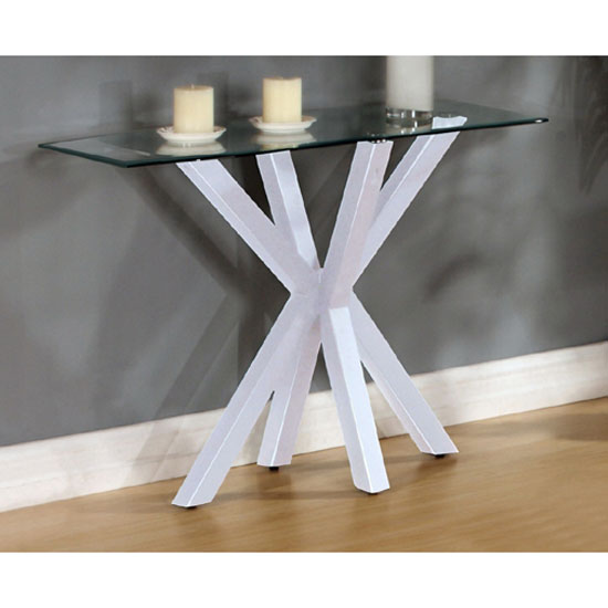 Langley High Gloss White Finish Clear Glass Top Console